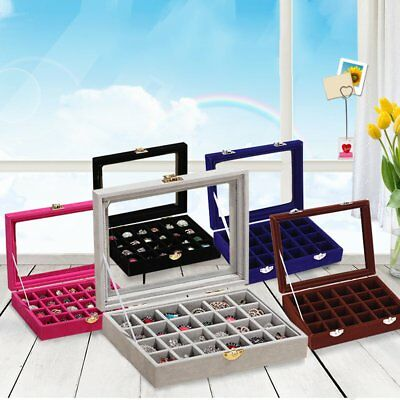 Organizer Case Box Holder Storage Glass Jewelry Earring Velvet Display Ring OA