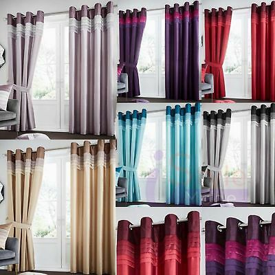 La Moda Luxurious Curtains Ready Made Eyelet,Ring Top Fully Lined with Tie Backs