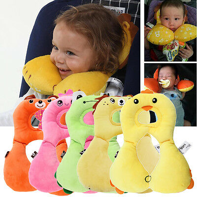 Cartoon Children Head Neck Protecting Support Headrest Travel Car Seat Pillow OB