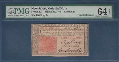 NJ-177 * PMG CU64 EPQ * Mar. 25, 1776 3s New Jersey Colonial: ex Ford Collection