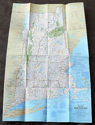 1975 National Geographic Map New Hampshire Vermont Massachusetts Connecticut old