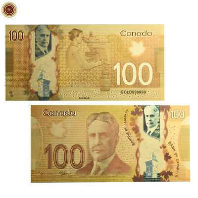 WR Canada $100 Gold COLOR Foil Note Waterproof Dollars Banknote Business Gift