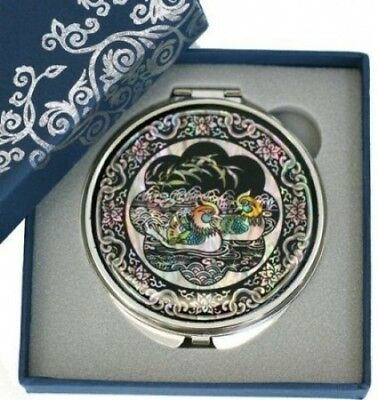 Silver J Hand mirror, compact type, handmade mother of pearl gifts, mandarin