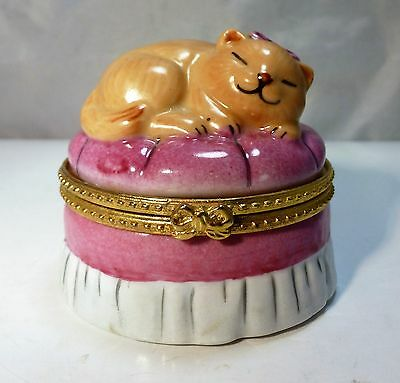 Porcelain Sleeping Cat On Ottoman Trinket Box