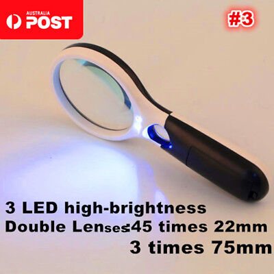 3-LED Light 3X 10X 45X Handheld Magnifier Reading Magnifying Glass Jewelry Loupe