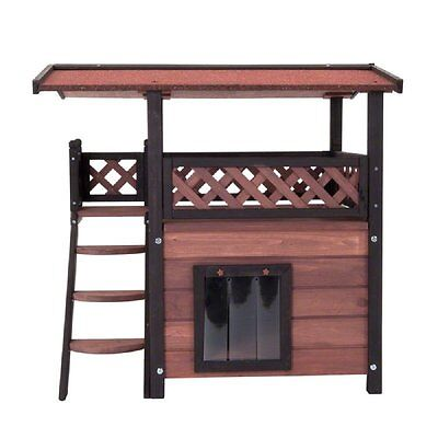 Outdoor Wooden Cat House Bed Den Maisonette Terrace Door Roof Sleeping Hiding