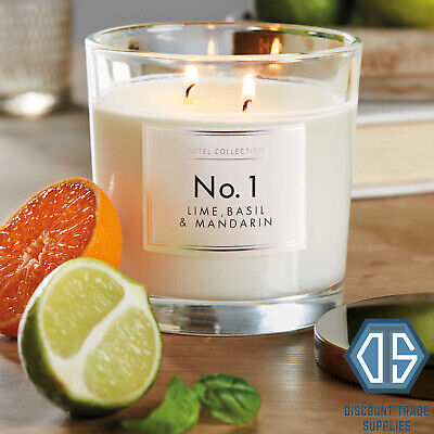 Aldi No 1 Luxury long-lasting Fragranced Candle 2 Wick Lime Basil and Mandarin