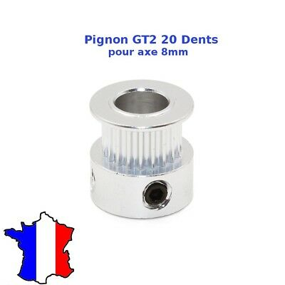 Poulie GT2 20 dents - axe 8mm pour courroie de 6mm, aluminum pulley