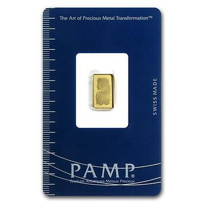 1 Gram Pamp Fortuna Swiss Solid Fine 999.9 Gold Bullion Bar Sealed