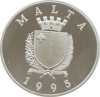 1995 Malta United Nations 50th Anniversary  LM5 Silver Proof Coin