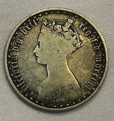 1855 Great Britain Queen Victoria One Florin 1/10 of Pound .900 Silver COIN