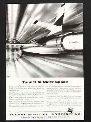 1956 Vintage Print Ad SOCONY MOBILE OIL CO Tunnel To Outer Space Illustration
