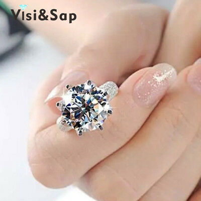 Visisap White Gold Color ring 8 Carat Crown AAA cubic zircon Wedding Rings Fo...