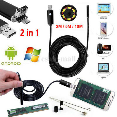 For Android PC Endoscope HD 6 LED 2 in 1Borescope Waterproof Inspection Camera