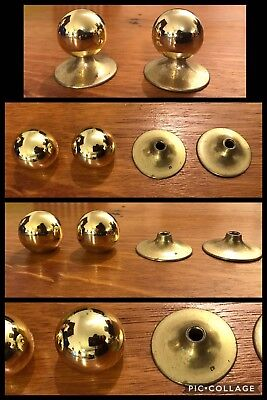 4 Knob & Back Plates Pulls Round Bright Brass Tone Cabinet Drawer Heavy Vintage