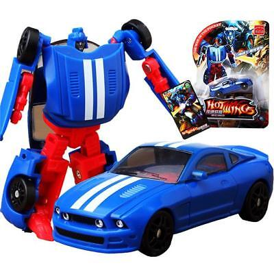Plastic Transformers Toy Sports Car Changes In To Robot Action Figure Gifts LA