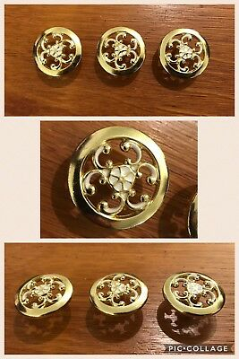 3 Knobs Pulls Round White Brass Cabinet Drawer Floral French Provincial Vintage