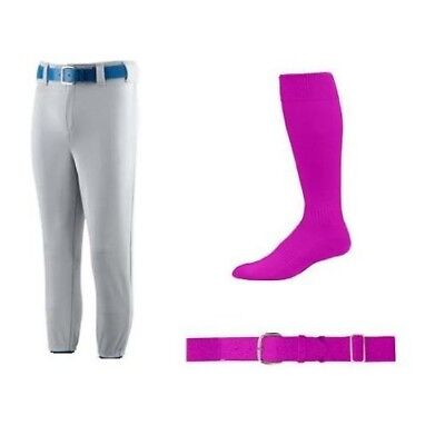 (Youth Small Pants (22-24, Grey Pants/Pink Socks & Belt) - Youth Baseball