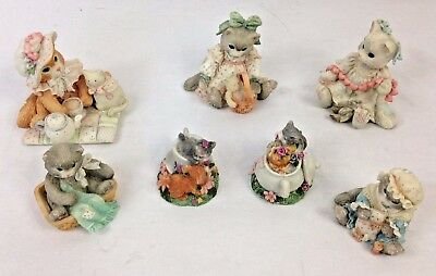 Lot of 7 Enesco Calico Kittens Figurines 1992 1994