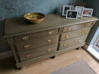 Farmhouse Style Edwardian Painted Dresser Base in Annie Sloan 'Chateau Grey'