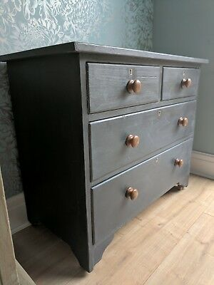 Edwardian Pine Chest of Drawers in Annie Sloan 'Graphite'