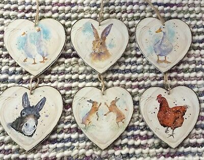 Animal Heart Decoration Country Rustic Watercolour Print Design Hare Goose Bunny