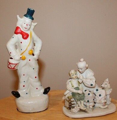 """2 clown figurines, 1 based on Norman Rockwell """"The Runaway"""" Clown 1986 vintage.."""