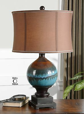 Large New Glossy Blue Ceramic Table Lamp Beige Shade Charcoal Gray Rust Drips