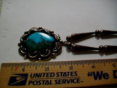 1EXL1 RARE Antique Sterling PENDANT Bench Bead Hard Gem Grade Organic Turquoise