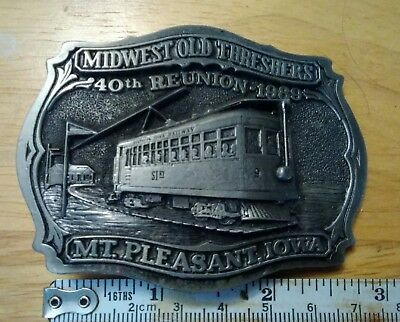 1989 40th Reunion Midwest Old Threshers Mt Pleasant IA Belt Buckle