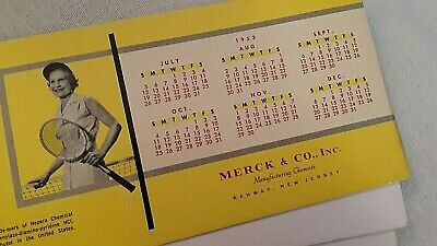 Merck & Co. Chemists Pyridium 1953 Calendar + Blotter Drug Advertising - TENNIS!