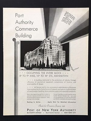 1932 Vintage Print Ad PORT OF NEW YORK Authority Architecture Image 30's Story