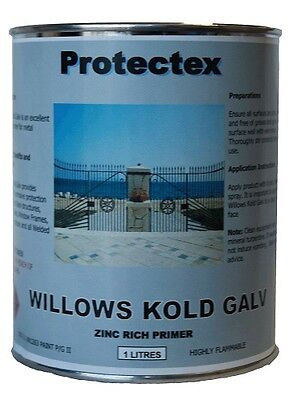 Willows Kold Cold Galvanising Protectex Zinc Primer Paint Iron Steel 1 Litre