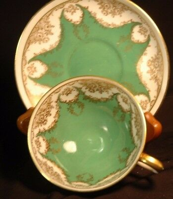 Crown Staffordshire Green Gold Cup and Saucer