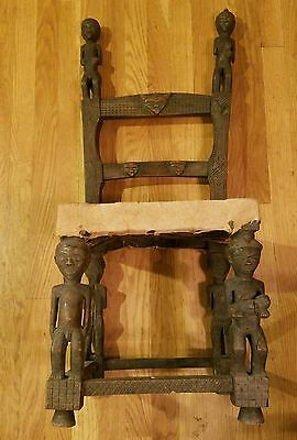 very early African ornately carved Chiefs chair