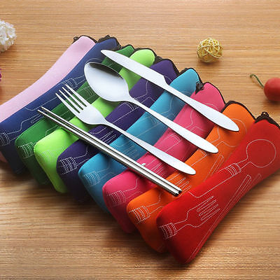 Stainless Steel Kit Tableware Spoon Knife Fork Chopstick Case Camping Outdoors