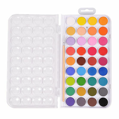 36 Color Fundamental Water Color Pan Set Non-Toxic Artist Cake Kit 1 Paint Brush