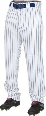 (2X, White/Navy) - Rawlings Youth Semi-Relaxed Pants with Pin Stripe Design