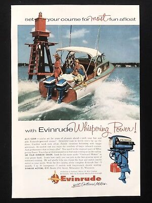 1956 Vintage Print Ad EVINRUDE Boat Outdoor Motor Lake Fun Summer