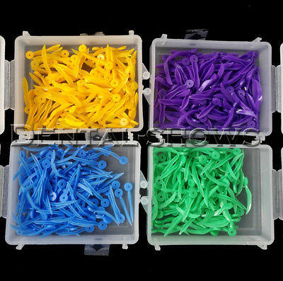 400pcs Dental Plastic Poly-wedges with Dental holes 4 colors 4 sizes