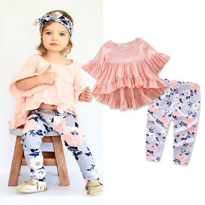 AU Stock Toddler Kids Baby Girls Outfits Set Clothes T-shirt Tops + Floral Pants