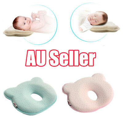 Baby Infant Newborn Memory Foam Pillow Prevent Flat Head Anti Roll Support BO