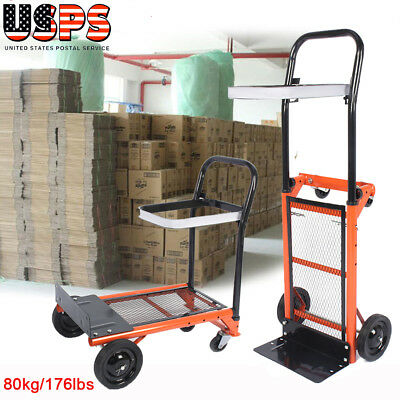 Dolly Hand Truck Portable Folding 2in1 Push Cart Moving Home Office Rolling 80KG