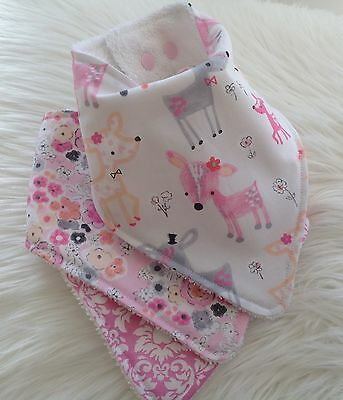 Baby girls bandana bib fawn floral and damask by Tractors & Fairies