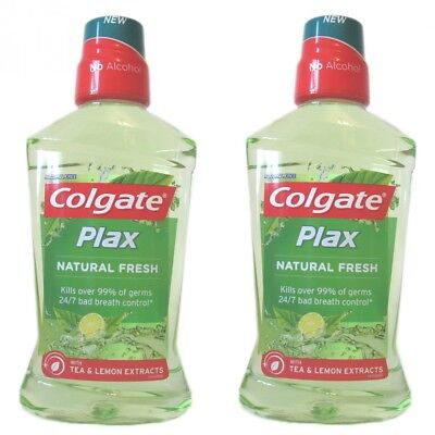 Colgate Plax Natural Fresh Tea and Lemon Extracts Mouthwash 500ml (Pack of 2)