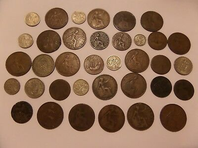 36 Lot Of Great Britain Coins Lots Of One Cents 1907, 1916, 1939, 1948 & More