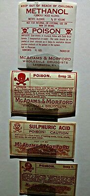 Authentic Vintage Poison Bottle Labels - Set of 4 - Pharmacy Apothecary Oddities