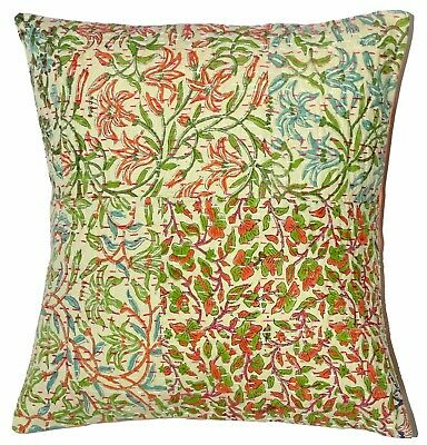 5 Pcs Indian Handblock Kantha Cushion Cover Floral Handmade Patchwork Sham Cover