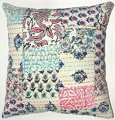 5 Pcs Handmade Kantha Cushion Cover Indian Handblock Floral Patchwork Sham Cover