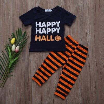 AU 2pcs Toddler Baby Boy Girl Kids Cotton Clothes T-shirt Tops+Pants Outfits Set